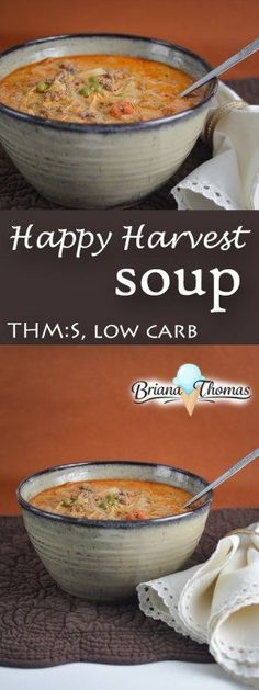 This Happy Harvest Soup has some intriguing spice combinations! THM:S, low carb, sugar free, gluten/egg/nut free (dairy-free option as well)