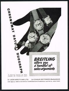 Vintage 1948 Breitling Chronomat Datora Duograph Watch Hand Art Print Ad. #breitling #chronomat #datora #duograph #watch #watches #vintage #ads #stawc