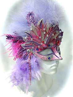 Lavender & Pink Masquerade Mask Festival Masks by Marcellefinery Carnival Of Venice, Carnival Masks, Carnival Costumes, Fairy Costumes, Masquerade Cakes, Masquerade Wedding, Masquerade Ball, Mask Images, Leather Mask