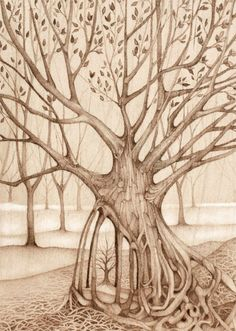 I love the texture of her trees and the tree within the tree in this pic  safe keeping by TheHauntedHollowTree