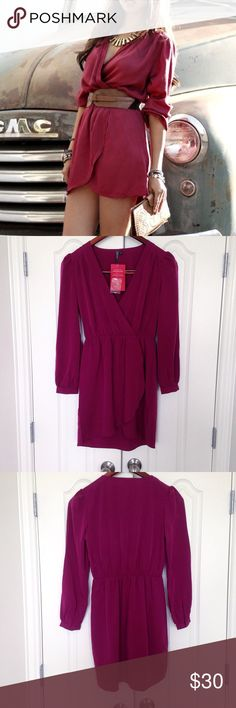 WEEKEND SALE! Burgundy Long Sleeve Short dress. New with tags. Color Burgundy. Size small. Short dress, long sleeve. Retail price $58. Allison Joy brand. Please note the dress on the cover picture is very similar to mine but not the exact same dress. Dresses Long Sleeve