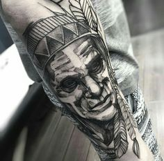 By Fredão Oliveira | Brazil | #BlackworkTattoo #Blackwork #Tattoo #Shaman #Xamã #ArmTattoo