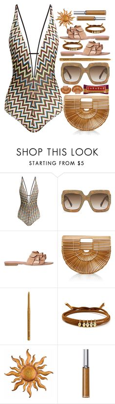 """""""Not today, I am at the beach!"""" by sunnydays4everkh ❤ liked on Polyvore featuring Missoni Mare, Gucci, Oscar Tiye, Cult Gaia, NYX, Jules Smith and Giorgio Armani"""