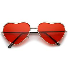 Create an oh-so-cute look with these heart sunglasses featuring a metal frame and tinted lenses in fun and colorful hues. Accented with ultra slim rounded arms Round Lens Sunglasses, Oversized Round Sunglasses, Stylish Sunglasses, Sunglasses Women, Sunglasses For Sale, Vintage Sunglasses, Heart Shaped Glasses, Heart Glasses, Cute Glasses