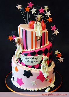 3 Tier Topsy Turvy Graduation Cake by Pink Cake Box in Denville, NJ.  More photos and videos at http://blog.pinkcakebox.com/3-tier-topsy-turvy-graduation-cake-2010-06-11.htm