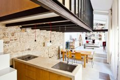 Magnificent Rectangular Studio Design with Modern Interior: Alluring Kitchen Island Of Transformatin Of A Studio Into A Loft With Wooden Cab...