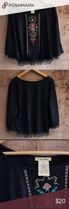"ANTHROPOLOGIE Flying Tomato Poncho EUC Poncho Sleeve Top with Aztec stitched applique. Size M.  Measurements with top laying flat: length 20"", bust 21"". Very soft navy blue fabric. Flying Tomato Tops"