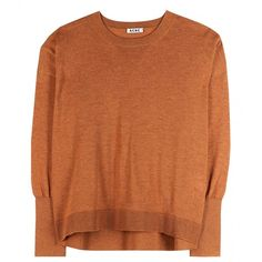 Zola Merino Wool Sweater (510 BRL) ❤ liked on Polyvore featuring tops, sweaters, shirts, jumpers, rust orange, brown tops, brown shirt, layered tops, over sized shirts and orange sweater