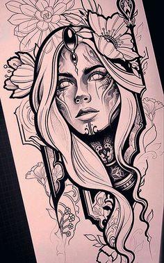 - - - tattoo tattoo ideas for women for women ideas girl body girl design girl drawing girl face girl models ideas for moms for women Dark Art Drawings, Pencil Art Drawings, Art Drawings Sketches, Tattoo Sketches, Tattoo Drawings, Leg Tattoos, Small Tattoos, Girl Tattoos, Sleeve Tattoos