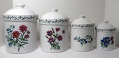 Canister set white ceramic flowers  #InternationalChinaCo