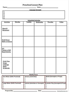 Weekly Preschool Lesson Plan Template Prek Pinterest Lesson - Free printable lesson plan template blank