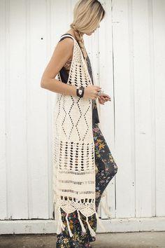 Crochet long vest - hippie chic