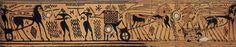 Scene from the Trojan War. Colour drawing from a representation on a Geometric oinochoe, in the Agora of Athens. 8th century BC.  Agora Museum, Athens P 4885. Hellenic Ministry of Culture/Archaeological Receipts Fund.  Drawing: P. de Jong.