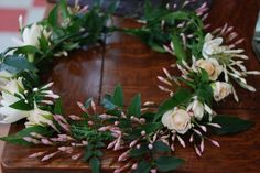 Pink jasmine and rose flower crown