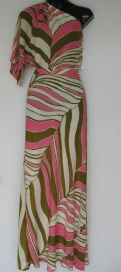 trina turk maxi dress half sleeve 1 shoulder dress multi green pink white multi angle stripe print features side button zipper detail fully lined