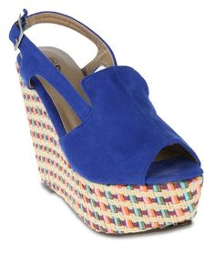 Royal Blue Footwork Amy Wedge Sandals