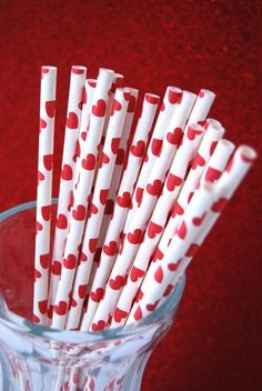 Red Heart Paper Straws and PDF Printable Party by CupcakeSocial, $4.25, valentines day