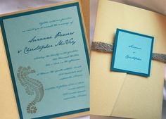 Invitations for a Beach Wedding, Bar & Bat Mitzvah & Party Theme - Shimmering Sea Blue & Yellow Burlap by Golden Silhouette - mazelmoments.com