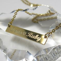 Long Gold Bar Necklace Personalized Initial by newyorkcustommade
