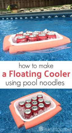 "Pool Noodle DIY - Keep your soda's cool this summer with this awesome DIY floating cooler! Who knew a pool noodle craft could be so ""cool? Pool Noodle Crafts, Floating Cooler, Living Pool, Diy Cooler, Outdoor Cooler, Pool Hacks, Pool Signs, Stock Tank Pool, My Pool"