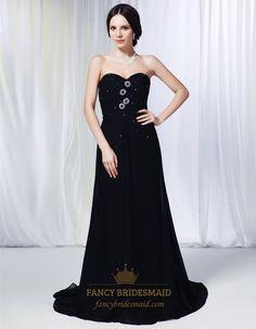 Pleated Chiffon Evening Gowns, Chiffon Strapless Sweetheart Prom Dress, Long Black Chiffon Evening Dress, Black Pleated Sweetheart Maxi Dres...