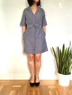 Summer Stripes: The Everlane Cotton Collarless Belted Shirt Dress - Welcome Objects