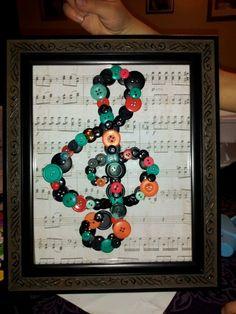 Music teacher present made with buttons