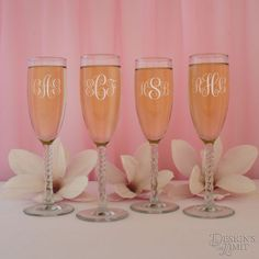 Tie the Knot Personalized Spiral Champagne Flute with Engraved Bridal Party Monogram Designs & Font Selection ( Each - 5.75 oz. Flutes) by DesignstheLimit #TrendingEtsy