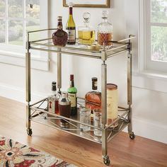 Metropolitan Antique Brass Metal Mobile Bar Cart with Glass Top by INSPIRE Q