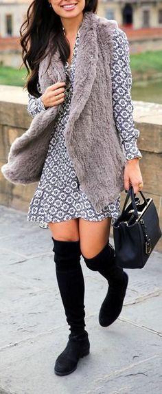 faux fur and printed dress