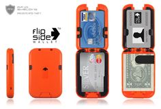 """The Flipside Wallet™ takes elements of the traditional bi-fold wallet and advances them to address new interests in security, durability, functionality, and style. Strong but flexible polymer construction, intuitive and easy to use design, automatic locking for secure containment of items, and the ability to shield your credit cards from Radio Frequency Identification Theft, or """"RFID Theft"""" make the Flipside Wallet™ one of the most secure, stylish wallets you will ever use. $39.95 + shipping"""
