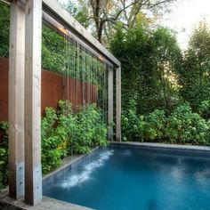 Small Swimming Pool Water Features Contemporary Design Ideas, Pictures, Remodel and Decor Backyard Gazebo, Backyard Pool Designs, Swimming Pools Backyard, Swimming Pool Designs, Pool Landscaping, Outdoor Pool, Indoor Pools, Lap Pools, Modern Backyard