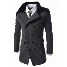 Turn Down Collar Wool Blend Men Pea Coat