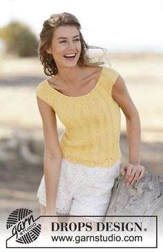 "Sweet and simple summer with rib and lace pattern in ""Paris"". Pattern now available by #DROPSDesign #knitting #ss2015"