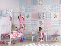 patchwork fabric style, using modern wallpaper in blue and pink colors