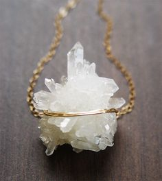 Vanilla Quartz Druzy necklace