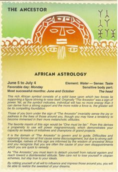 Zodiac Unlimited African astrology postcard: The Ancestor