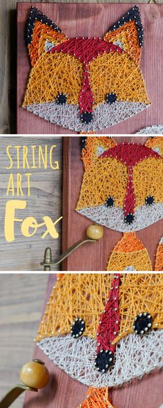 Fox string art key or jewelry holder made out of wood. Perfect for forest themed nurseries or kids rooms. Fox Crafts, Arts And Crafts, Arte Linear, Wood Projects For Kids, Fox Decor, Diy Jewelry Holder, String Art Patterns, Fox Art, Wood Gifts