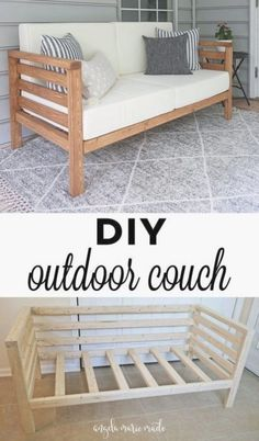 How to build a diy outdoor couch for only $ in lumber! This outdoor couch works great in small spaces... Budget friendly... D super cute too! Click to get the free tutorial! Diy Wood Projects, Home Projects, Outdoor Projects, Garden Projects, Diy Furniture Projects, Diy Summer Projects, Backyard Projects, Diy Projects For Bedroom, Diy Furniture Plans