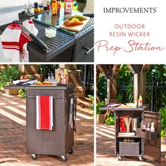 Stop lugging your BBQ items one at a time – place everything you need for your BBQ party in this BBQ Prep Station and roll it out to your grill.