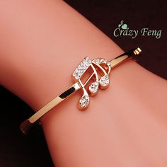 Free shipping Austrian Crystal 18k Rose Gold Plated Women Bangles Hot Valentine's Day Gift Fashion Music Bracelet Women Lady