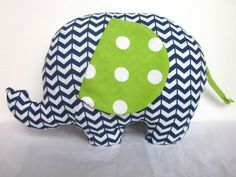 Love this pillow! https://www.etsy.com/listing/199670229/stuffed-elephant-navy-blue-lime-green