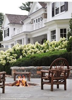 White exterior paint, brick red porches, Black shutters, nicely trimmed up Boxwood hedges, and lovely hydrangeas.