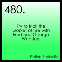 Harry Potter.    Fictional bucket list