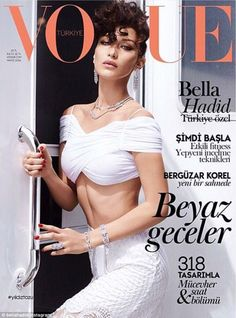 Cover girl: Bella Hadid excitedly shared a look at her first cover for Vogue magazine on Thursday, as she poses up a storm in a retro shoot for the Turkey ...