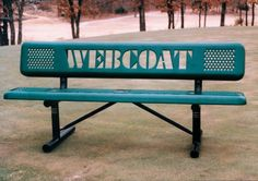The Perforated Steel benches can also be customized with your organization's name or logo!! Find the right bench at Noah's Park & Playgrounds!