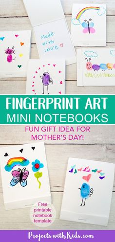 These DIY mini notebooks are absolutely adorable and using fingerprint art makes them the perfect handmade gift. Kids can easily create these for Mother's Day, Father's Day or any occasion! We've also included a FREE notebook template. Mothers Day Crafts For Kids, Craft Projects For Kids, Crafts For Kids To Make, Gifts For Kids, Art For Kids, Art Projects, Free Notebook, Fingerprint Art, Preschool Crafts