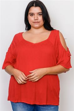 830987fd9c Plus Size Boho Red Drawstring Shoulder Cut Out Top  2-2-2