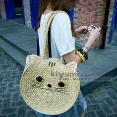 hot selling 2013 Mm cat straw bag beach bags rattan bag women's handbag shoulder bag for spring & summer promotion