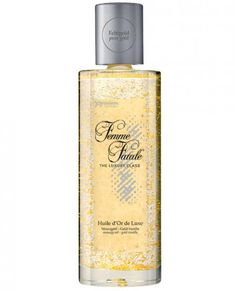The high quality Femme Fatale collection of massage oils provides seductive pleasure. Huile d'Or de Luxe is an oil containing real gold which gives the skin a delicate golden glow when applied. Combined with the enchanting fragrance of vanilla, this oil is royally good, and crowns as Queen of Lust and Passion the discerning woman who uses it. With Femme Fatale, you can transform everyday life into moments of pure luxury! Made in Germany. Dermatologically and clinically tested. 100 ml / 3.38…